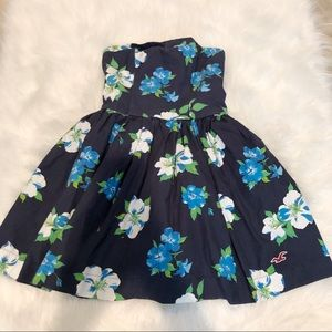 Hollister Blue Strapless Floral Mini Dress
